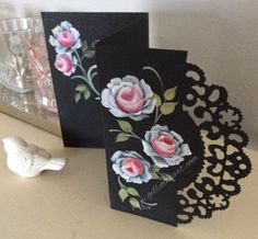 Shooglie Crafts : Hand Painted Roses on Cards