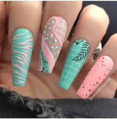 Accent Nail Designs, Beach Nail Designs, Long Nail Designs, Acrylic Nail Designs, Tropical Nail Designs, Teal Acrylic Nails, Teal Nail Art, California Nails, Nail Design Stiletto