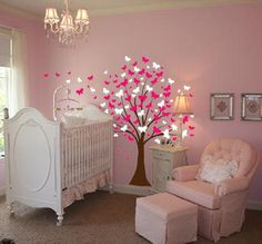 baby girl nurseries | Large Wall Tree Baby Nursery Decal Butterfly Cherry Blossom #1139 ...
