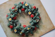 Quilled Strawberries and Bees - Side View