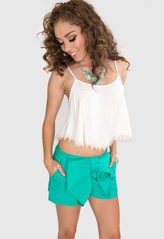 Young + Lovely Bow Shorts - Teal