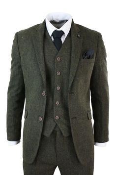 Mens 3 Piece Brown Green Retro Herringbone Tweed Suit Tailored Fit