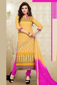 Yellow Color Designer Party Wear Salwar Kameez From Easysarees. Cotton Salwar Kameez, Churidar Suits, Salwar Kameez Online, Designer Kurtis, Saris, Costumes Anarkali, Bollywood, Indian Salwar Suit, Indian Sarees Online
