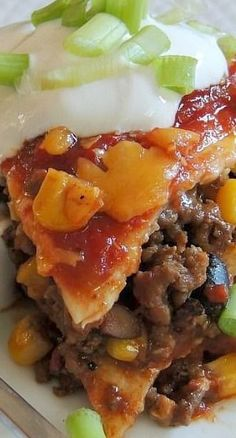 Loaded Taco Bake [Recipe is similar to my Mile-High Taco Pie but corn is added.]