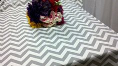 Grey Chevron Tablecloth | or 54x108 grey and white table cloth rectangle gray zigzag chevron ...