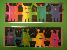 Fun Rainbow aliens. Could mix 1 colour  change value instead...