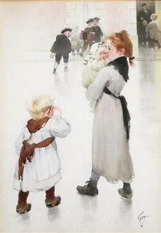 """""""La rentrée à l'ecole"""". Henry Jules Jean Geoffroy (1853 - 1924), French painter."""
