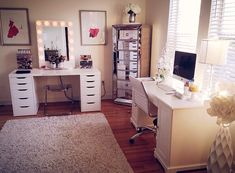 Love, love, love the idea of having a separate desk and vanity | #JustForMe #OfficeLove.