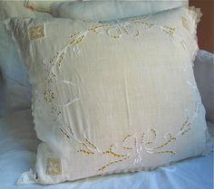 Embroidered White Linen and Lace Pillow Cover with Silk Taffeta Pillow Form