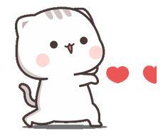 Pixel Kawaii, Gif Kawaii, Cute Anime Cat, Cute Cat Gif, Cute Love Pictures, Cute Love Gif, Chibi Cat, Cute Chibi, Gif Mignon