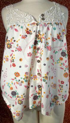 LOVE NOTES off-white cotton floral lace trap sleeveless blouse Jr M (T17-03C7G) #LOVENOTES #Blouse #Casual