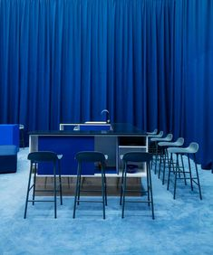 Step into blue at our 'conversation kitchen' at Like a kitchen in the home, it is furnished with Form barstools around a high table, designed to encourage conversation. Heavy drapery emphasizes the feeling of a safe and intimate atmosphere. Documentary Film Festivals, Plastic Molds, Danish Design, Bold Colors, Colours, Copenhagen, Color Inspiration, Bar Stools, Home Accessories
