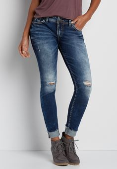 Silver Jeans Co.® Elyse dark wash skinny jeans with destruction (original price, $99.00) available at #Maurices