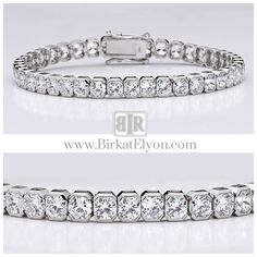 An absolute beauty! This popular cubic zirconia bracelet features radiant square shape stones(4mm each) in a semi bazel mounting. An approximate 12.60 total carat weight, set in 14k white gold. This high quality cubic zirconia bracelet is 7 inches long, also available in different lengths via special order. - See more at: http://www.birkatelyon.com/cubic-zirconia-bracelets/square-B7248W#sthash.GGQhDCAL.dpuf