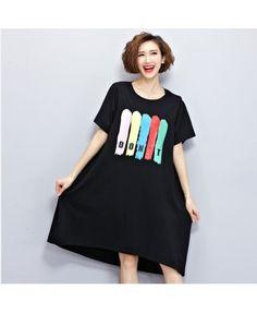 Black pattern printed dress cotton long T-shirt