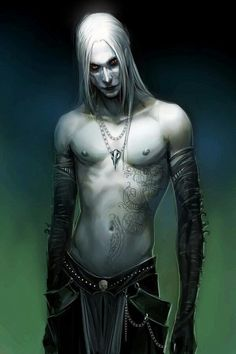 Dark elves, I am reminded of the elf prince from Hellboy. - I don't know who drew this, but it's very close to how I picture my trolls.