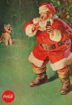 Christmas Coca-Cola Vintage Cards for Xmas and Holidays, Vintage Coca-Cola… Coca Cola Christmas, Noel Christmas, Father Christmas, Retro Christmas, Xmas, Christmas Print, Coca Cola Vintage, Coke Ad, Coca Cola Ad
