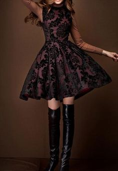 BROWN FIT AND FLARE DRESS WITH FLOWER FLOCKING