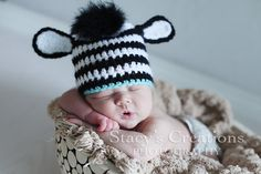 crochet baby zebra animal hat