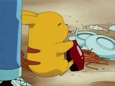 Pikachu loves his ketchup