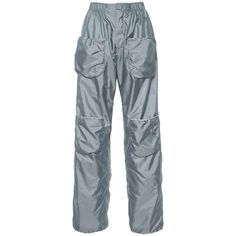 J.W. Anderson Grey Cargo Sport Trouser (17.295 CZK) ❤ liked on Polyvore featuring pants, gray pants, fitted pants, sports pants, stretch waist pants and fitted cargo pants