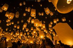 Lanterns are launched into the sky during the Yi Peng Festival. #thailand