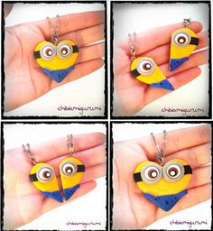 Colgante corazón inspirado en los minion de Gru, mi villano favorito // Minion heart necklace inspired in Despicable Me BBF