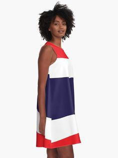'Flag Of Thailand' A-Line Dress by ArgosDesigns Thailand Flag, Chiffon Tops, Line, Summer Dresses, Fabric, Fashion, Tejido, Moda, Tela