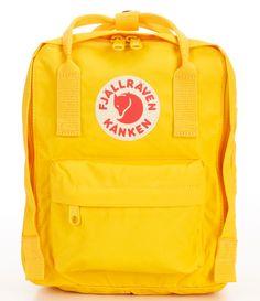 Fjallraven Mini Kanken Water-Resistant Backpack - Warm Yellow N/A Kanken Backpack Mini, Yellow Backpack, Backpack Bags, Messenger Bags, Cute Mini Backpacks, Girl Backpacks, Leather Backpacks, School Backpacks, Backpacks