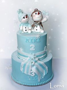 Snowmen Birthday Cake