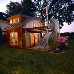 Cool kid playhouse - complete with electric lighting.