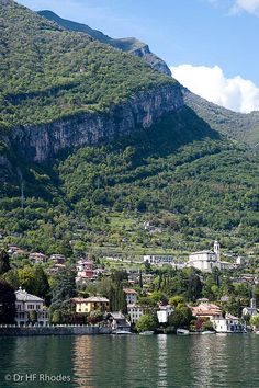 Sheer cliffs overlooking Tremezzo, Lake Como, Italy