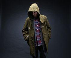 Engineered Garments Wool Melton Duffle Coat in Olive Motorcycle Jacket, Military Jacket, Olive One, Engineered Garments, Duffle Coat, Mens Gear, Cable Knit Cardigan, Vest Jacket, Canada Goose Jackets