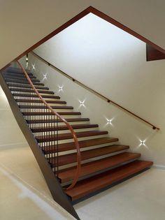 Stairway lighting Ideas with spectacular and moderniInteriors, Nautical stairway, Sky Loft Stair Lights, Outdoors Stair Lights, Contemporary Stair Lighting. Staircase Lighting Ideas, Stairway Lighting, Basement Lighting, Deck Lighting, Modern Staircase, Staircase Design, Winding Staircase, Lighting Design, Ceiling Lighting