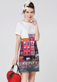 White Short Sleeve Buildings Bikes Print Silk Dress