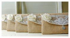 encaje arpillera encaje embrague boda rústico por hoganfe en Etsy