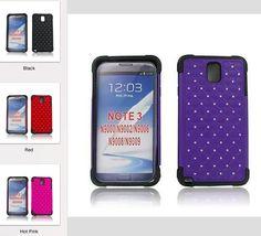 Samsung Galaxy Note 3 Hybrid Studded Diamond Case Black Skin