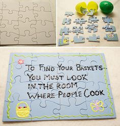 Here's a gorgeous little idea to add a little magic to Easter morn. I saw blank puzzles in the craft shop a few days ago, now I know what to do with one!    ooooh I can't wait - (Captain Kidult strikes again :)  via www.allkidsnetwor...