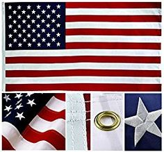 Shop72- U.S. Nylon American USA Flag 3 x 5 Ft – 210D Oxford Embroidered Stars Sewn Stripes Canvas Header Brass Grommet Wind Side Double Stitch
