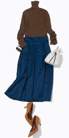 ラメニットとサテンスカートで照明映えコーデ! ルミネの秋トレンドテーマ「Midnight Active」にそって、人気スタイリスト川上さやかさんがルミネ新宿のショップアイテムで今どきの夜遊びスタイルをご紹介!