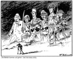 Cartoon by Behrendt on the Vietnam War (1972) Image 'Liberators come and go – but the people remain.' In 1972, le cartoonist Behrendt draws attention to the fate and the suffering of the people of Vietnam, who have lived through war for more than 30 years.  http://www.cvce.eu/en/obj/cartoon_by_behrendt_on_the_vietnam_war_1972-en-923329e2-d224-420f-bf78-947230cb0e24.html  Source: BEHRENDT, Fritz. Politische Karikaturen. Haus an der Freyung: 1984.