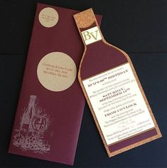Wine bottle Invitations Custom Invitations  Weddings Showers by courtlyniverson on Etsy, $25.00