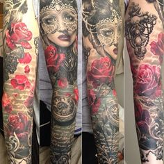 gorgeous grey scale and color rose tattoo, it could be stylized as a Phantom of the Opera piece.