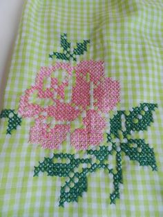 Vintage Lime Green and White Gingham Apron with Cross Stitched Pink Roses. $14.00, via Etsy.