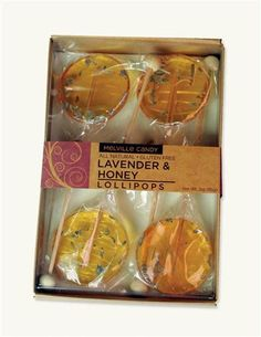 Infused with edible buds to satisfy your sweet tooth or melt into a hot cup of tea. Homemade Gift Baskets, Homemade Gifts, Honey Store, Honeycomb Candy, Homemade Lollipops, Honey Spoons, Lollipop Recipe, Honey Packaging, Chocolates