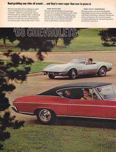 1968 Chevrolet Corvette Chevelle SS car print by catchingcanaries