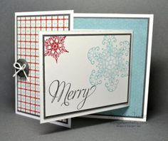 the theme this week at SUO Challenges is Fun Folds! Joy Fold Card, Fun Fold Cards, Folded Cards, Snowflake Cards, Card Making Techniques, Basic Grey, Cardmaking, Christmas Cards, Paper Crafts
