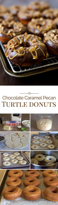 Brioche donuts dipped in a rich chocolate ganache sprinkled with toasted chopped pecans then drizzled with a sweet, gooey caramel. The flavors of a turtle chocolate candy in an irresistible donut.