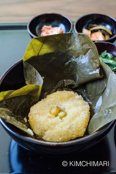 Korean Temple Food - Sweet Rice steamed in Lotus Leaf   (Yeonipbap)