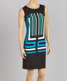 Another great find on #zulily! Turquoise & Black Geo Sleeveless Dress #zulilyfinds